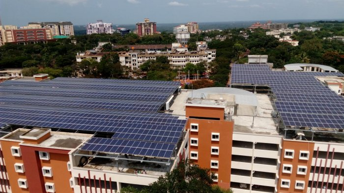 The solar panels on the multi-level car parking facility at MAHE, Manipal.