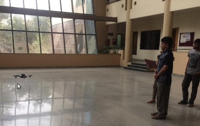 Indoor drone testing at the Indian Institute of Science.