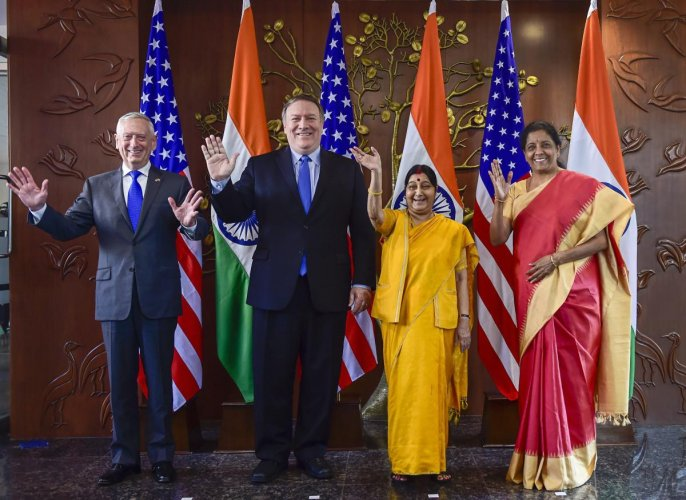 Foreign Minister Sushma Swaraj, Defence Minister Nirmala Sitharaman, US Secretary of State Mike Pompeo and US Secretary of Defence James Mattis pose for a group photo before India-US 2 + 2 Dialogue, in New Delhi. PTI