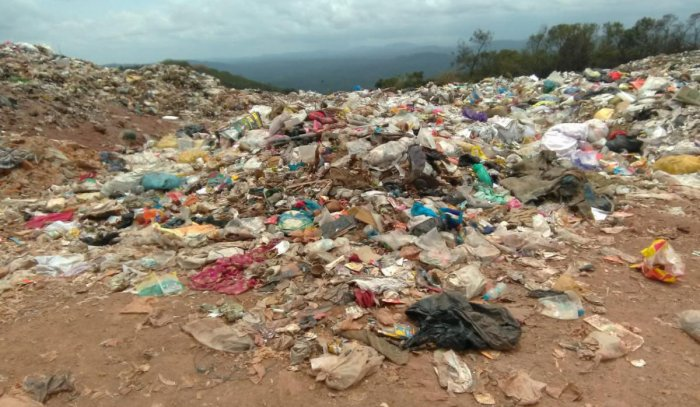 Heaps of garbage dumped at Stonehill in Madikeri.