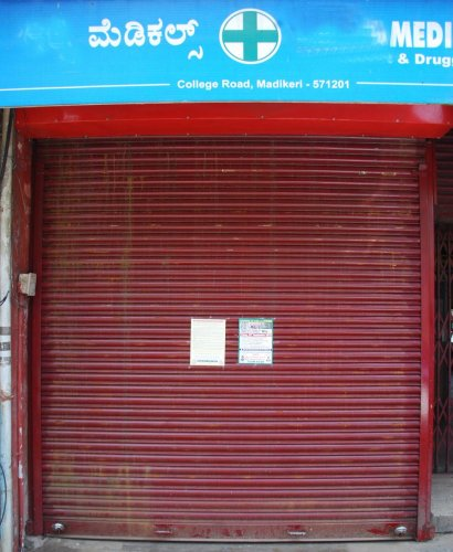 A medical shop in Madikeri remains closed on Friday.