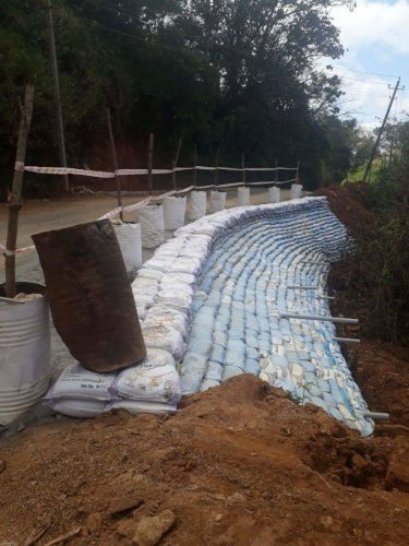 Sand bags line the Madikeri-Galibeedu Road in Kodagu.