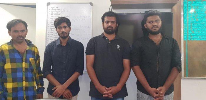 Accused: Gowtham Reddy , Prashanth , Guruprasad and Suryaprakash. The damaged car (Right).
