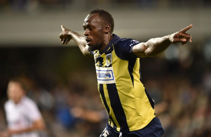 Olympic sprinter Usain Bolt celebrates after scoring for Central Coast Mariners against Macarthur South West United in an A-League match in Sydney on Friday. AFP