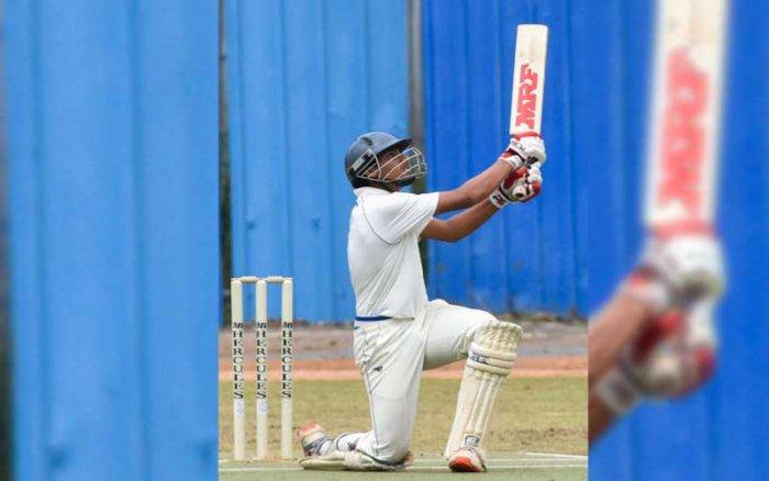 Anikait Chadha slammed a half-century to set up Ebenezer International School's 79-run victory over Baldwin Boys' High School in the Cottonian Shield cricket tournament on Wednesday.(DH Photo)