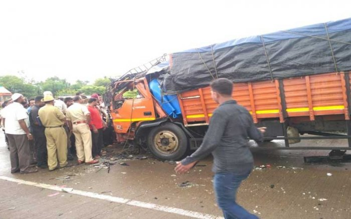 The truck was on its way from Ghataprabha in Gokak to Kolhapur. Its driver lost control of the vehicle near MGM hospital on the outskirts of the town, and it crashed head-on with an approaching mini-truck. (DH Photo)