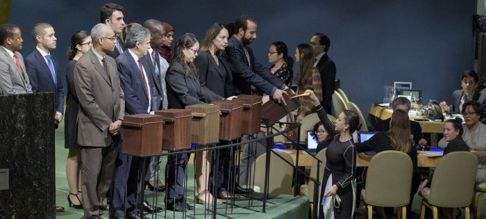UN Photo/Manuel Elias Collection of ballots for the election of members of the Human Rights Council at the General Assembly on 12 October 2018.