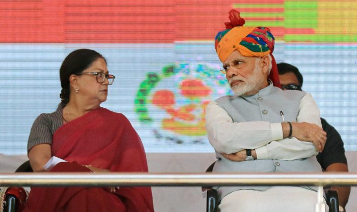 Prime Minister Narendra Modi and Rajasthan Chief Minister Vasundhara Raje in Jhunjhunu. PTI