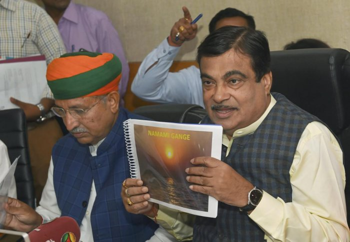 Union Minister for Water Resources, River Development and Ganga Rejuvenation, Nitin Gadkari with MoS Arjun Ram Meghwal at a press conference on Namami Gange programme in New Delhi on Thursday. PTI Photo