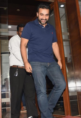 Businessman Raj Kundra comes out of the Enforcement Directorate office, in Mumbai on Tuesday. (PTI file photo)