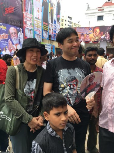 "Japanese couple Yasuda and Satsuki flew to Chennai for a ""first day first show pilgrimage"" of a Rajinikanth movie."