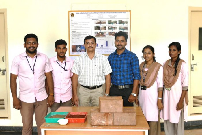 Students who developed blocks from laterite soil