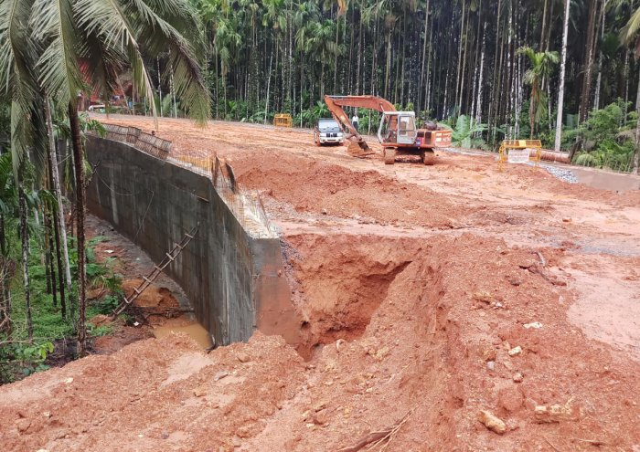 Work on accident zone being carried out near Devasya in Puttur.