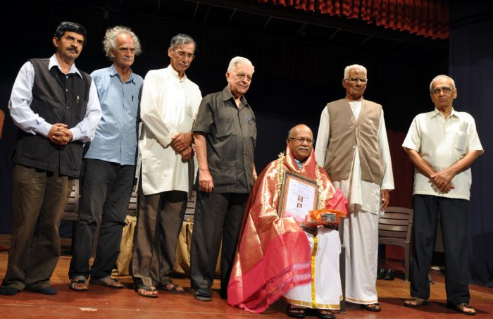Hampa Nagarajaiah was conferred Sediyapu Krishna Bhat award in Udupi on Friday.
