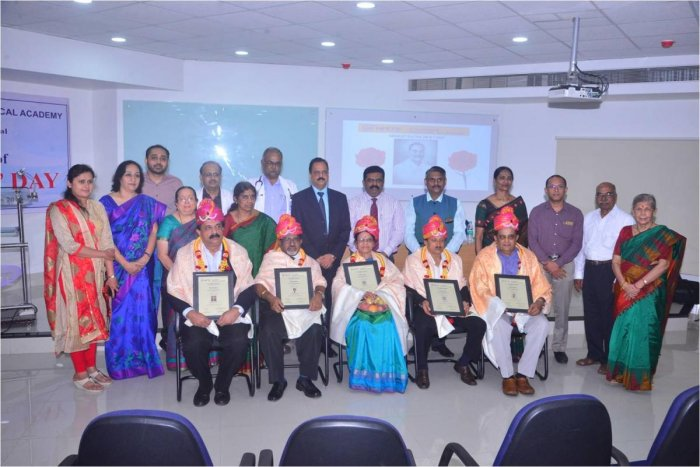 Senior doctors were felicitated at Doctor's Day programme held at K S Hegde Medical Academy on Saturday.