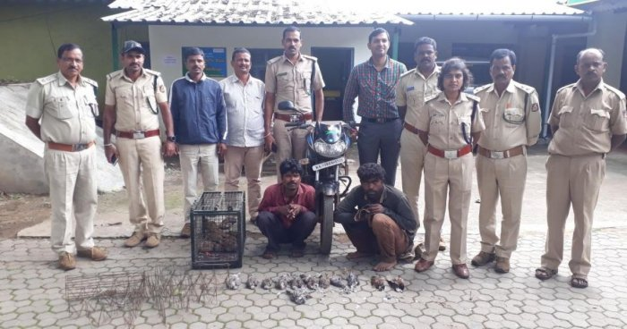 The forest officials arrested two persons in Chikkamagaluru for poaching birds.