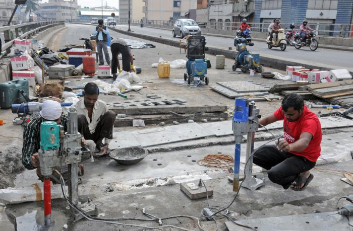 A file photo of repair work at the Sirsi Circle flyover, undertaken a few years ago.