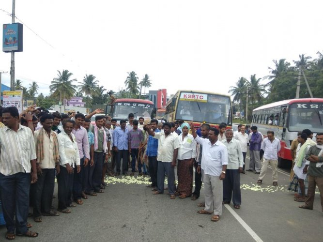 Ramanagaram's silk farmers blocked the highway and protested demanding support price for silk cocoons, on Friday. (DH Photo)