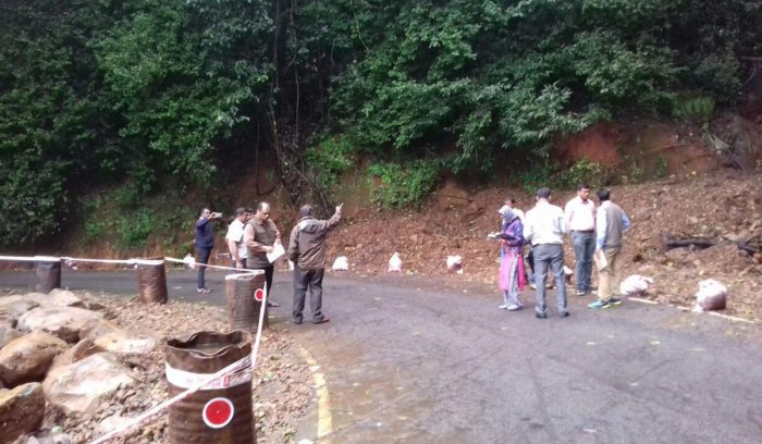 Technical experts from the Mines and Geology Department, Bengaluru, paid a visit to Virajpet on Monday and inspected the condition of Perumbadi-Makutta-Kootupole Road, which was damaged due to rains.