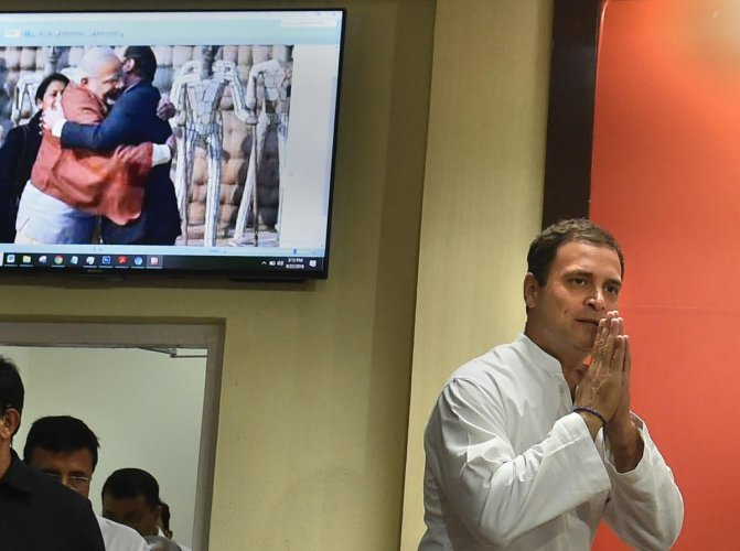 Congress president Rahul Gandhi arrives to address the media on Rafale deal issue, in New Delhi, on Saturday. PTI