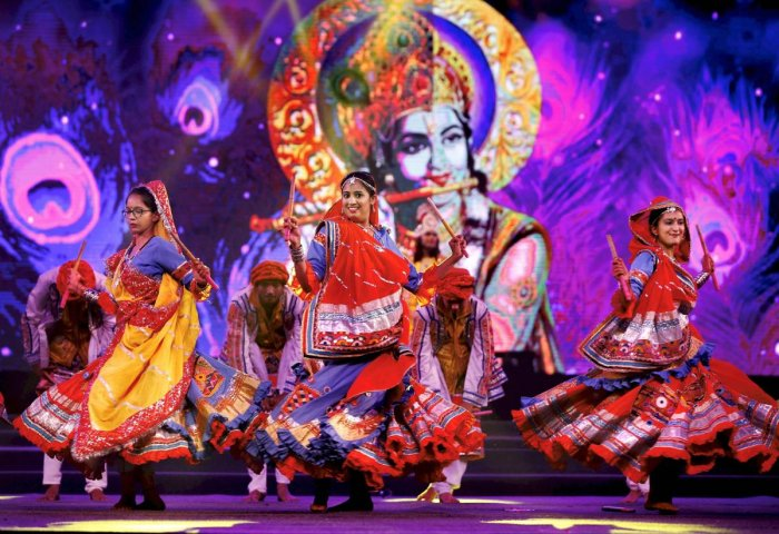 Artistes rehearse Garba Dance at Vibrant Navratri programme in Ahmedabad, Wednesday, October 10, 2018. (PTI Photo)