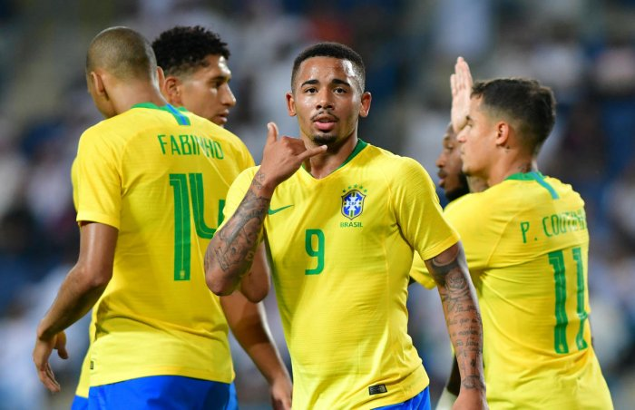 Brazil's Gabriel Jesus (9) celebrates after scoring against Saudi Arabia on Friday. REUTERS