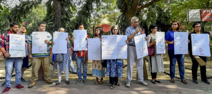 "Journalists participate a protest against ""sexual harassment in the media"" at Jantar Mantar, in New Delhi, Saturday, Oct 13, 2018. (PTI Photo)"