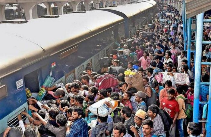 The heavy rush of the passengers was witnessed at the Secunderabad railway station and Mahatma Gandhi bus terminus (MGBS) here on Saturday