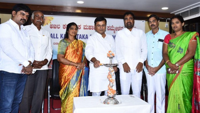 MLC Shrinivas Mane inaugurates All-Karnataka Mayors' Meet in Hubballi on Saturday.