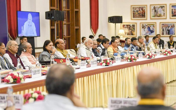 Prime Minister Narendra Modi at the fourth meeting of the Governing Council of NITI Aayog, in New Delhi on Sunday, June 17, 2018. (PTI Photo)