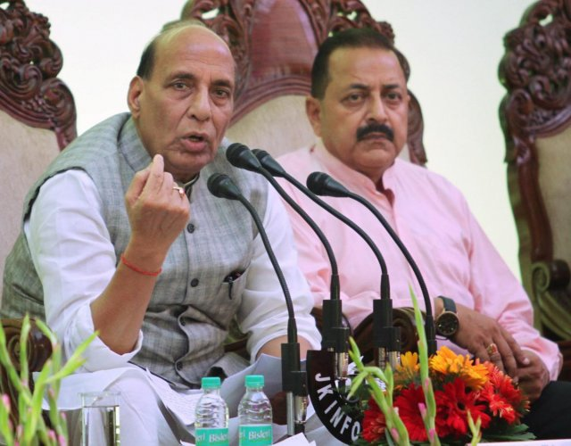 Union Home Minister Rajnath Singh addresses a press conference, in Jammu on Friday, June 08, 2018. PMO MoS Jitendra Singh is also seen. (PTI Photo)