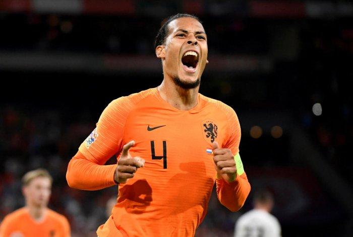 The Netherlands' Virgil van Dijk celebrates after scoring against Germany on Saturday. REUTERS