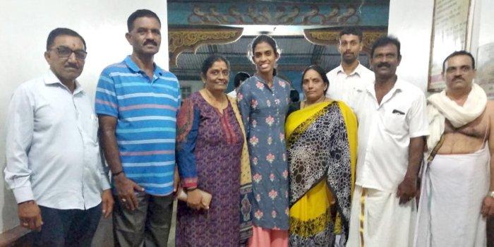 Karnataka's quartermile M R Poovamma visited Kukke Subrahmanya Temple on Sunday.