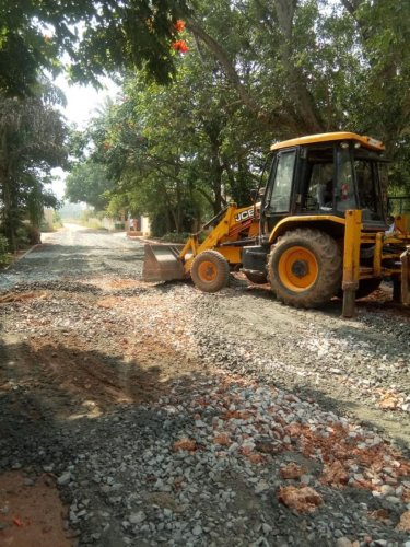 The repair work of the approach road to the Chrysalis High School in Kadugodi limits in East Bengaluru started on Sunday.