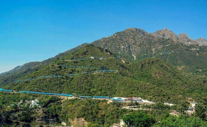 A view of the picturesque Tarakote Marg for Ma Vaishno Devi shrine between Katra and Adhkuwari, in Jammu. (PTI File Photo)