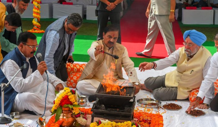 Minister of State for Culture Mahesh Sharma and Minister of Housing and Urban Affairs Hardeep Singh Puri perform a puja at the foundation stone laying ceremony for the construction of a museum for all Prime Ministers of the country, on the premises of the Teen Murti, in New Delhi on Monday. PTI