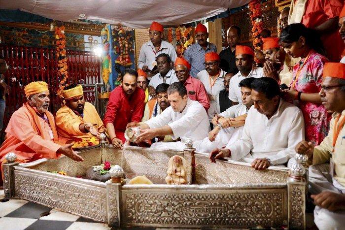 Congress president Rahul Gandhi offers prayers at Achaleshwar Mahadev Mandir, in Gwalior, on Monday. PTI