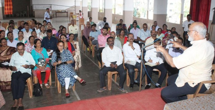 Human Rights Protection Foundation (HRPF) district president Dr Ravindranath Shanbhag speaks at a workshop in Udupi.