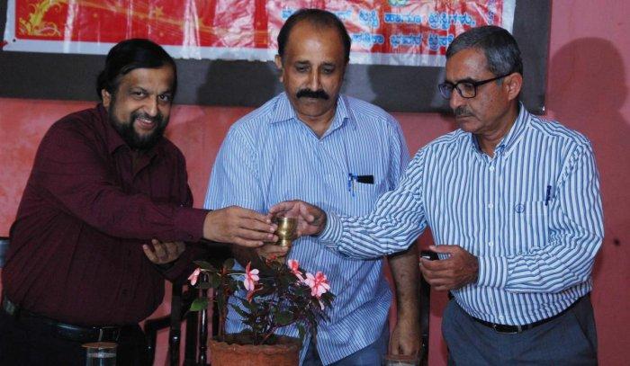 Public Relation Council of India Chairman M B Jayaram inaugurates a programme on ecologically sensitive zones in Madikeri on Monday.