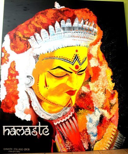 Painting on Yakshagana by the team from Canara College won the first place in a painting competition held at NMPT Cruise Terminal in Mangaluru.