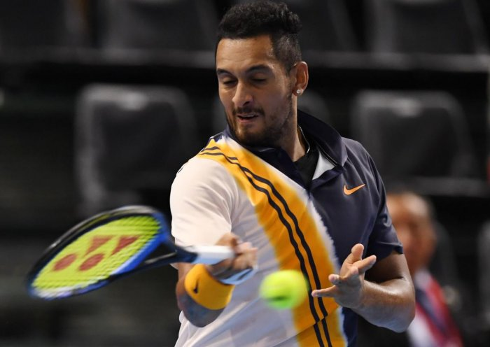 FINE START: Nick Kyrgios of Australia registered a 6-3, 4-6, 6-4 victory over Russia's Andrey Rublev in the first round of the Kremlin Cup. AFP