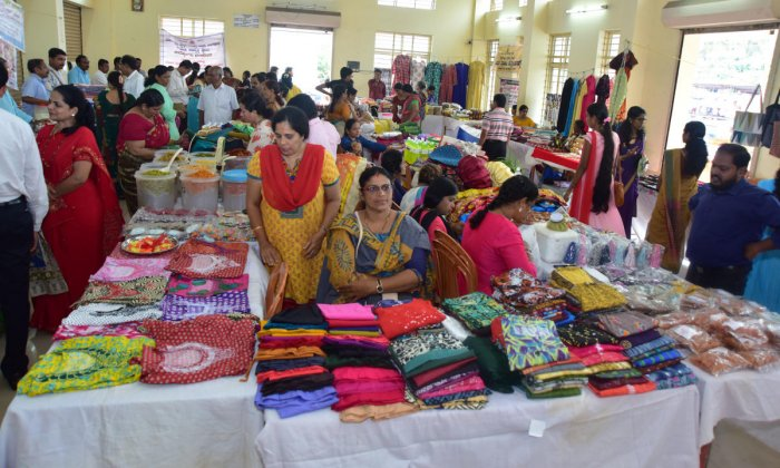 Women sell varieties of products at the Can Bazar Utsav at Kanthi Church Hall in Mangaladevi, Mangaluru.