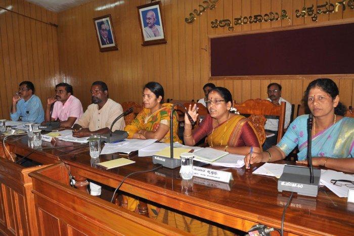 Chikkamagaluru ZP President Sujatha Krishnappa speaks at a meeting.