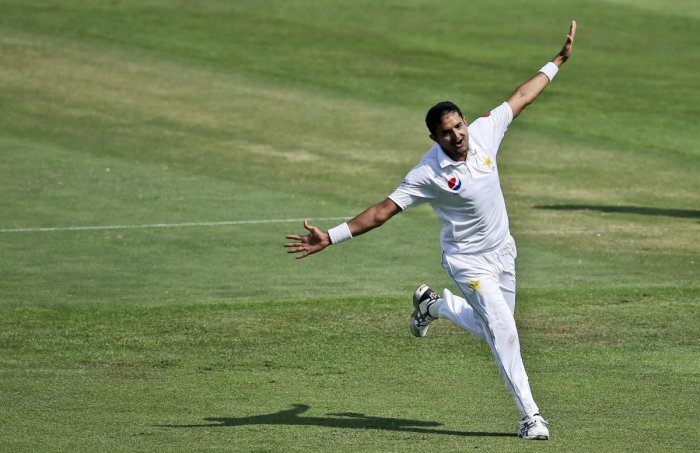 HIGH FLIER: Mohammad Abbas celebrates the dismissal of Shaun Marsh in Abu Dhabi on Wednesday. AP/PTI