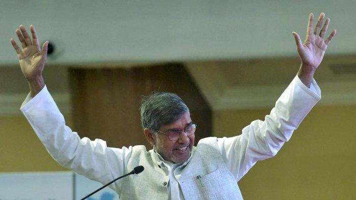 Nobel Laureate Kailash Satyarthi during the launch of 'Bharat Yatra' Website in Mumbai. PTI