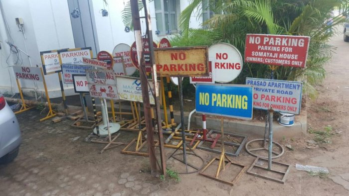 The no parking boards seized by the police.