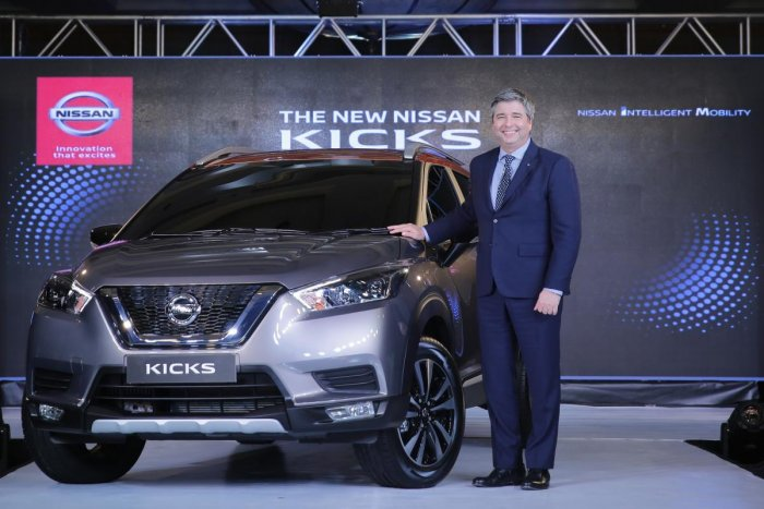 Thomas Kuehl, president, Nissan India Operations unveils Nissan Kicks, a luxury SUV, in Mumbai.