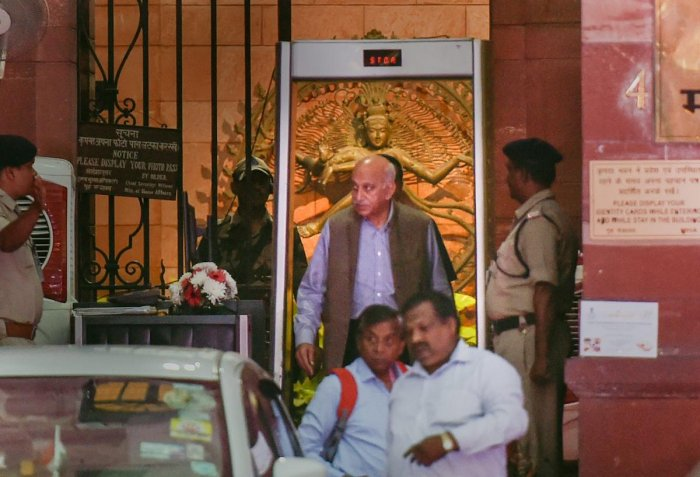 Minister of State for External Affairs MJ Akbar coming out of the MEA at South Block, in New Delhi. Akbar has filed a private criminal defamation complaint against journalist Priya Ramani who recently levelled charges of sexual misconduct against him as the #MeToo campaign raged in India. PTI