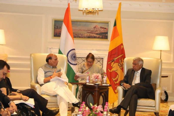 During the 30-minute meeting, both the leaders talked about further strengthening of India-Sri Lanka relations. (Image: Twitter/@rajnathsingh)