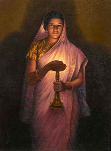 The painting 'Lady with the Lamp' in Jaganmohan Palace Mysuru